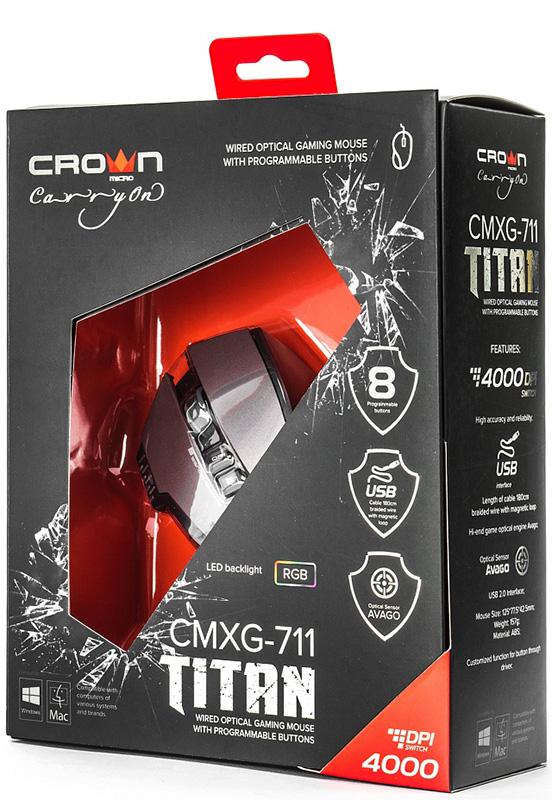 Мышь Crown CMXG-711 Titan проводная оптическая игровая с подсветкой для PCИгровая мышь с набором самых необходимых функции&amp;#774;. В мышке используется давно зарекомендовавшии&amp;#774; себя стабильнои&amp;#774; работои&amp;#774; и точным позиционированием сенсор Avago 3050. Все кнопки можно запрограммировать, поддерживается до 5 сохране&amp;#776;нных профилеи&amp;#774;. Для каждого профиля можно выбрать свои&amp;#774; цвет светодиоднои&amp;#774; подсветки. На корпусе есть индикатор текущего значения DPI. Под боковыми клавишами выведена дополнительная эргономичная кнопка.<br>
