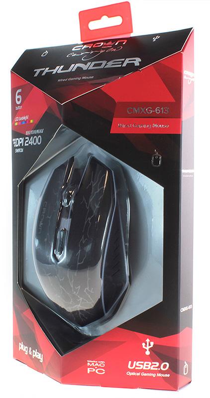 Мышь Crown CMXG-613 Thunder проводная оптическая игровая c подсветкой для PC / Mac мышь crown cmxg 605 беспроводная игровая для pc