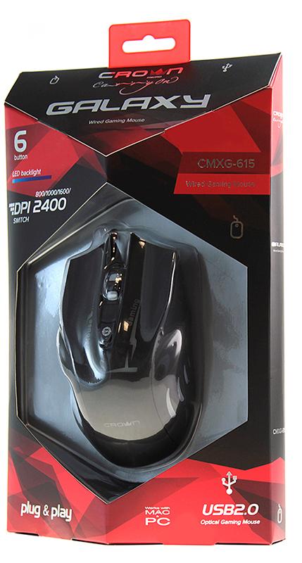Мышь Crown CMXG-615 Galaxy проводная оптическая игровая c подсветкой для PC / MacПроводная игровая мышь Crown CMXG-615 Galaxy с подсветкой.<br>