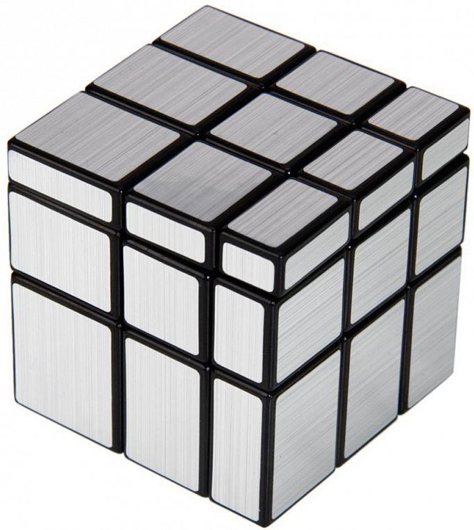 Головоломка Зеркальный кубик (cеребряный)Головоломка 3х3, но все стороны одного цвета! По конструкции, это все тот же кубик Рубика 3х3: у него есть центральные клетки, 3 слоя, угловые и реберные кубики. Вот только все кубики здесь разного размера.&#13;<br>В этом и заключается суть головоломки. В разобранном состоянии она совсем не похожа на куб, а имеет форму сложной геометрической фигуры с разными по размеру гранями.<br>