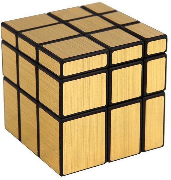 Головоломка Зеркальный кубик (золотой)Головоломка 3х3, но все стороны одного цвета! По конструкции, это все тот же кубик Рубика 3х3: у него есть центральные клетки, 3 слоя, угловые и реберные кубики. Вот только все кубики здесь разного размера.&#13;<br>В этом и заключается суть головоломки. В разобранном состоянии она совсем не похожа на куб, а имеет форму сложной геометрической фигуры с разными по размеру гранями.<br>