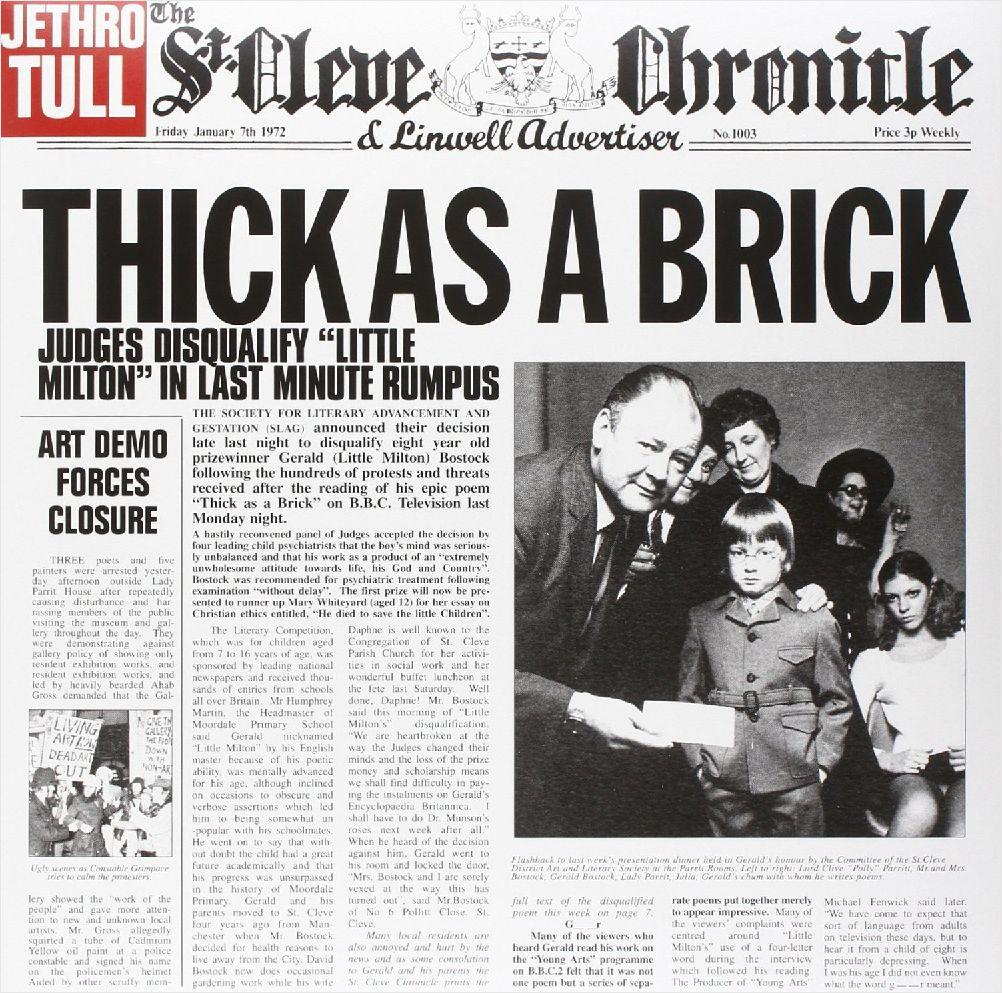 Jethro Tull – Thick As A Brick (LP)Thick as a Brick – это 5 студийный альбом британской рок-группы «Jethro Tull», записанный в декабре 1971 года на студии звукозаписи «Morgan Studios» в Лондоне и выпущенный в 1972 году.<br>