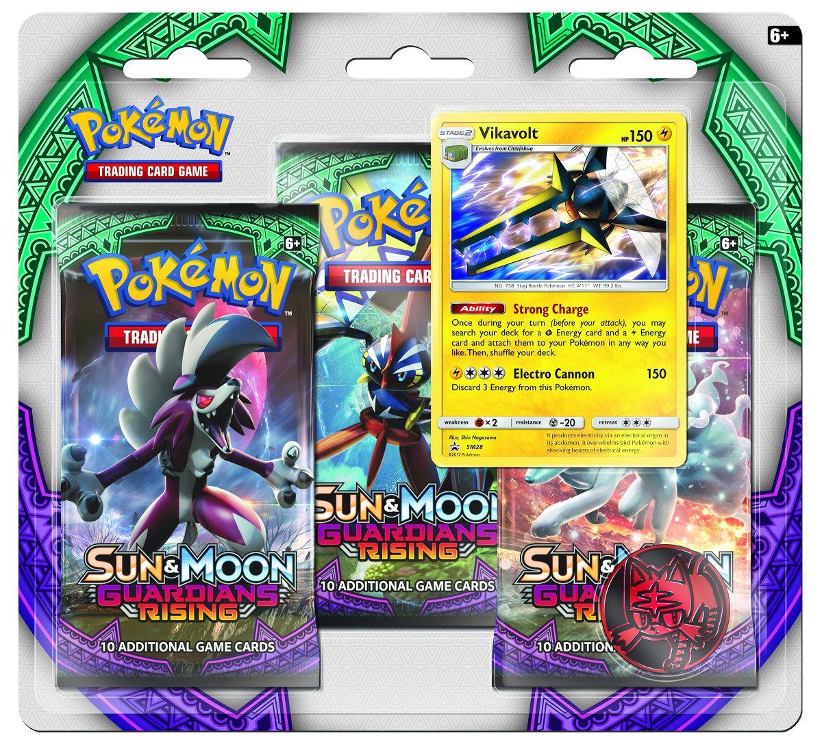 Коллекционная карточная игра Pokemon Sun &amp; Moon Guardians Rising: Тройной блистер + Промо-карта Vikavolt + МонетаВы будете поражены секретными силами Коммо-о-GX, Лайканрока-GX, Метагросса-GX, Силвеона-GX, Токсапекса-GX, Викавольта-GX и многих других! Приезжайте на острова и захватите власть Покемонов из расширения Pok&amp;#233;mon Sun &amp;amp; Moon «Guardians Rising»!<br>