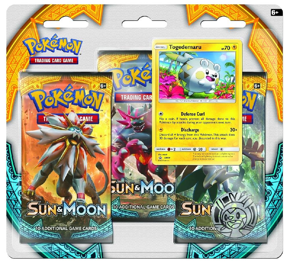 Коллекционная карточная игра Pokemon Sun &amp; Moon: Тройной блистер + Промо-карта Togedemaru + МонетаБитвы накаляются вместе с тропическими Покемонами из региона Алола, которые появляются в расширении Sun &amp;amp; Moon коллекционной карточной игры Pok&amp;#233;mon.<br>