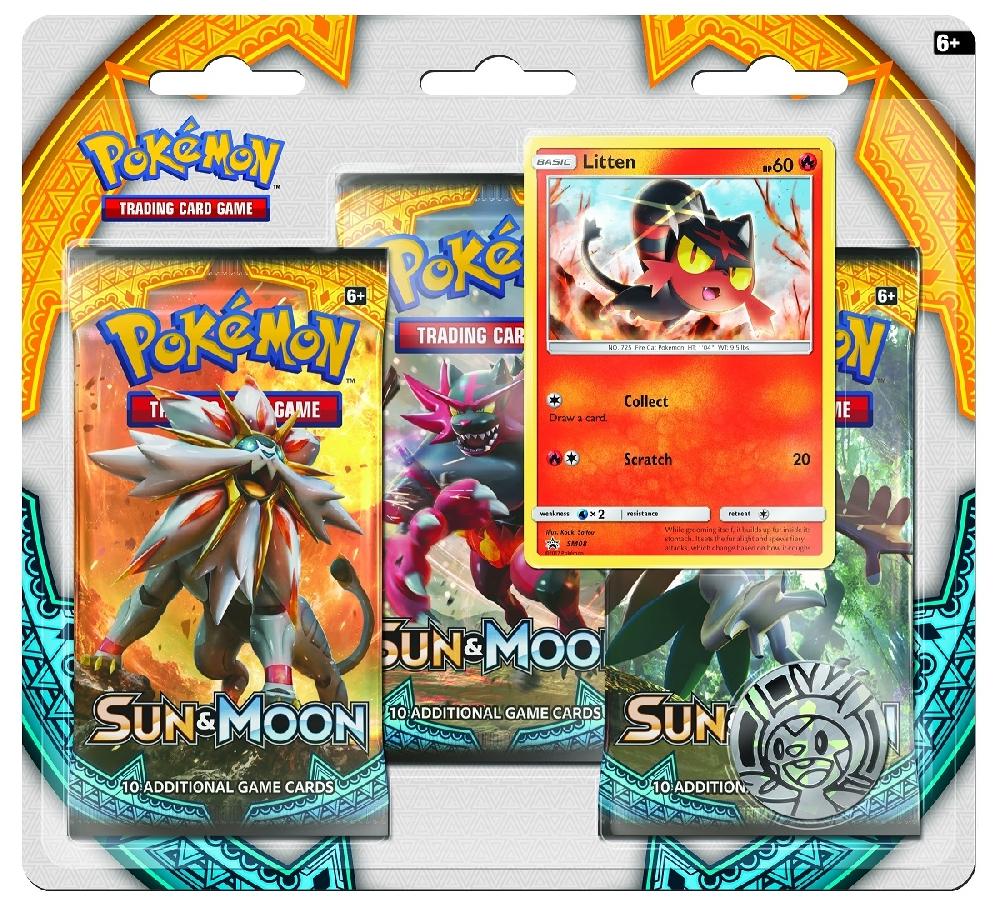 Коллекционная карточная игра Pokemon Sun &amp; Moon: Тройной блистер + Промо-карта Litten + МонетаБитвы накаляются вместе с тропическими Покемонами из региона Алола, которые появляются в расширении Sun &amp;amp; Moon коллекционной карточной игры Pok&amp;#233;mon.<br>