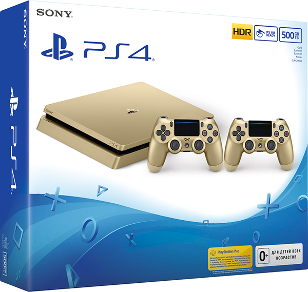Игровая консоль Sony PlayStation 4 Slim (500 Gb) (золотистая) + дополнительный контроллер Dualshock 4 (золотой)