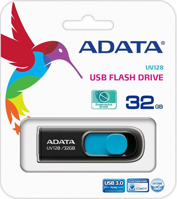 USB накопитель UD ADATA 32 ГБ UV128 (black+blue)Гладкий дизайн с USB-разъемом, плавно выдвигающимся из  USB накопителя UD ADATA UV128 одним движением большого пальца. Бесколпачковая конструкция исключает проблемы с потерей колпачка. USB-разъем выдвигается одной рукой, что очень удобно, когда скорость является главным условием.<br>