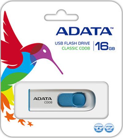 USB накопитель UD ADATA 16 ГБ C008 (white+blue) от 1С Интерес