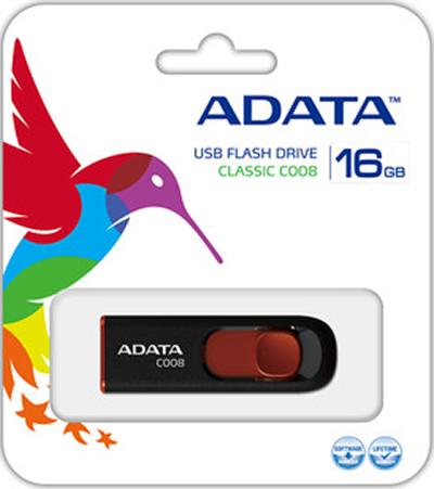 USB накопитель UD ADATA 16 ГБ C008 (black+red) от 1С Интерес