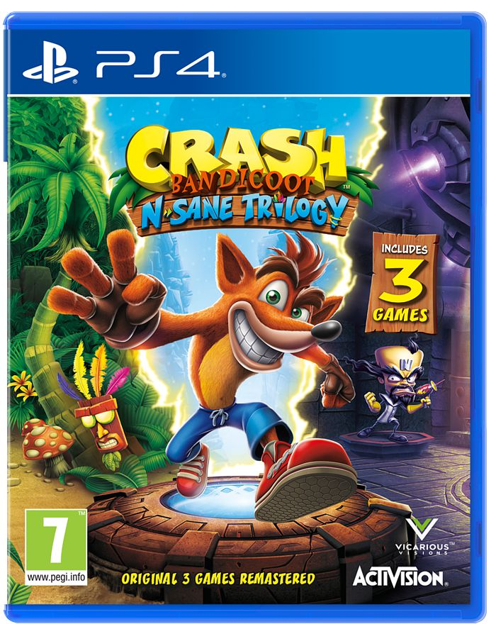 Crash Bandicoot Nsane Trilogy [PS4]Crash Bandicoot Nsane Trilogy – это коллекция ремейков первых трех игр в серии Crash Bandicoot, завоевавшей 20 лет назад не одно геймерское сердце.  Издание включает три самых запоминающихся приключения сумчатого бандикута по имени Крэш: Crash Bandicoot, Crash Bandicoot 2: Cortex Strikes Back и Crash Bandicoot 3: Warped.<br>