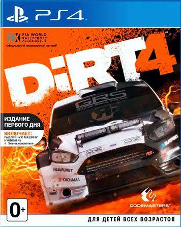 DiRT 4. Издание первого дня [PS4]DiRT 4 – четвертая часть серии аркадных гонок. Игра бросает серьезный вызов даже опытным виртуальным гонщикам. Новая Академия DiRT 4 научит навыкам, которые необходимы для достижения вершин в автоспорте, и станет собственной игровой площадкой для оффроуда.<br>