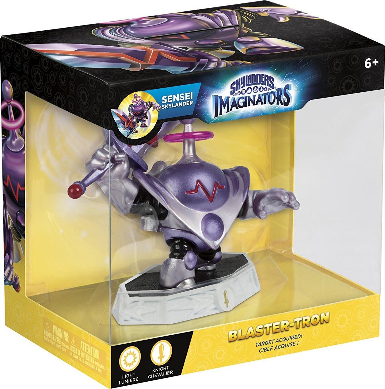 Skylanders Imaginators: Интерактивная фигурка Сэнсэй Blaster-Tron (стихия Light)Blaster-Tron &amp;ndash; это не просто сверхсовременная технология &amp;ndash; он буквально из будущего. Когда Skylanders отправились в путешествие во времени, чтобы остановить Wolfgang, они вернулись с роботом надеясь, что смогут изучить его технологию. Эон сразу заметил, что у него есть переключатель «Добрый / Злой», который был установлен на «Зло». После того, как механизм переключили на «Хорошо», Blaster-Tron преобразовался.<br>