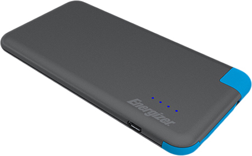 Портативное зарядное устройство Energizer UE4001M (Grey/Blue)Портативное зарядное устройство Energizer UE4001M &amp;ndash; это ультратонкий внешний аккумулятор с емкостью 4 Ач, позволяющий заряжать гаджеты с силой тока 2 А. В комплект входит удобный и яркий кабель-переходником с разъемами USB и microUSB. Аккумулятор пригодится в местах, удаленных от источника электроэнергии, и позволит быстро зарядить смартфон или планшет.<br>