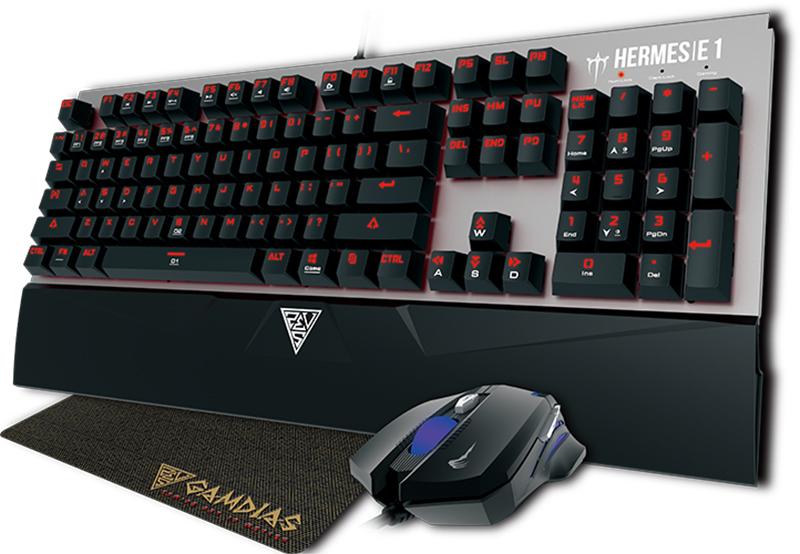 Игровой комплект Gamdias: Hermes E1 + мышь Demeter E2 + коврик Nyx E1 для PCИгровой комплект Gamdias: Hermes E1 + мышь Demeter E2 + коврик, состоящий из механической клавиатуры, оптической мыши и коврика.<br>