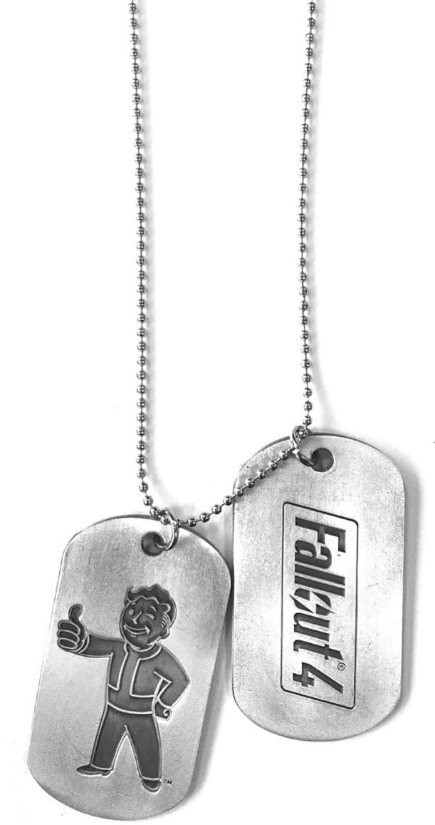 Жетоны Fallout 4: Vault BoyFallout 4: Vault Boy – набор из двух металлических жетонов на 60-сантиметровой цепочке, созданных по мотивам компьютерной игры Fallout.<br>