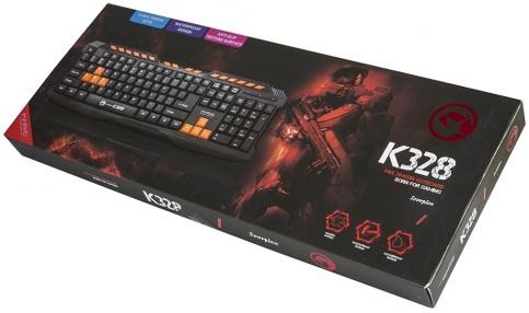 Клавиатура MARVO K328 проводная игровая для PCMarvo K328 &amp;ndash; это игровая мембранная клавиатура, которая позволит вам получить совершенно новые ощущения от игр и работы за компьютером. Каждая ее клавиша рассчитана на миллионы нажатий и имеет покрытие против скольжения. Установка осуществляется автоматически после подключения к USB-порту ПК. &#13;<br>&#13;<br>Marvo K328 имеет все нужные геймеру элементы - оранжевые клавиши WASD и стрелки, удобное расположение клавиш и большой Пробел. На таком продукте вы сможете играть без какого-либо дискомфорта и получать массу положительных эмоций.<br>