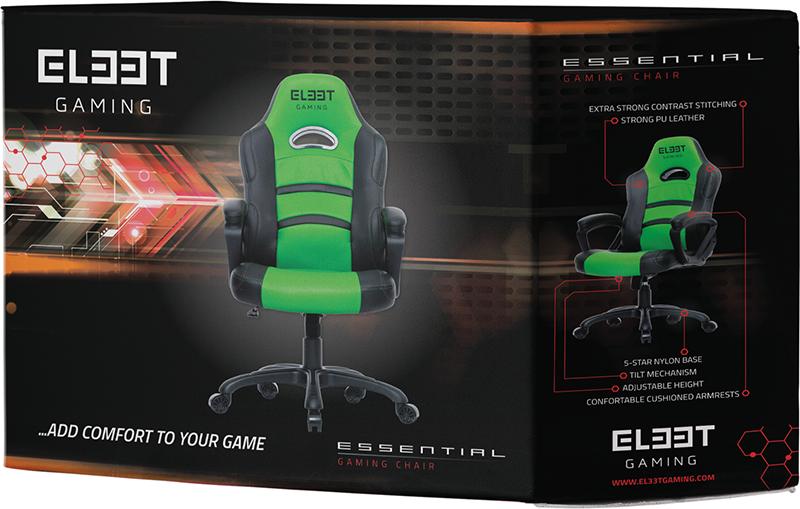 Геймерское кресло EL33T Essential (Black/Green)EL33T Essential популярное игровое кресло начального уровня от датского производителя. L33T-Gaming &amp;ndash; это абсолютно новый, захватывающий ассортимент инновационных игровых кресел для все более требовательных геймеров разработанный для максимального комфорта. В этом игровом кресле есть все, что нужно заядлому геймеру, чтобы сохранять хладнокровие, остроту ума и бодрость во время длительных игровых сеансов.<br>