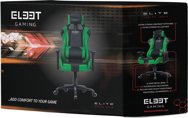 Геймерское кресло EL33T Elite (Black/Green)Уникальное игровое кресло EL33T Elite профессионального уровня от датского производителя L33T-Gaming &amp;ndash; бренда, рожденного в самом сердце Скандинавии &amp;ndash; региона, известного большим количеством именитых производителей игровой индустрии. Это одна из топовых моделей ассортимента игровых кресел L33T-Gaming, оснащенных регулируемыми подлокотниками, спинкой, поясничной и шейной подушками.<br>