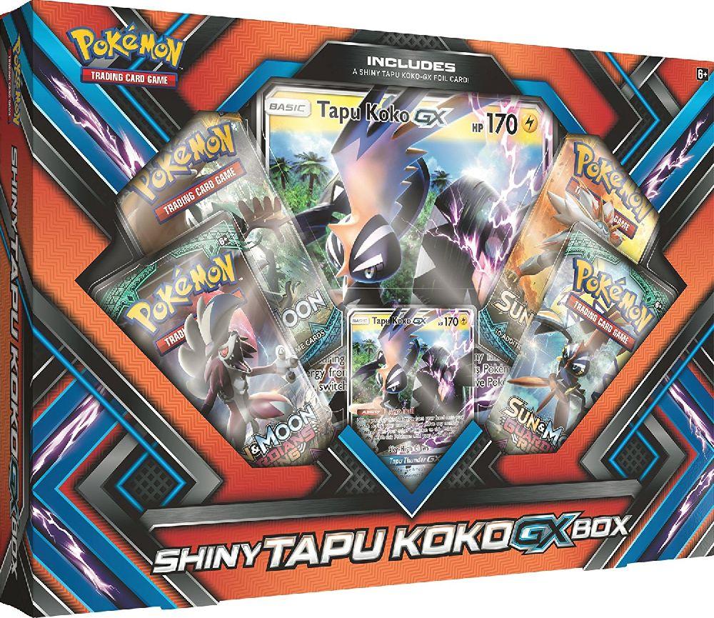 Коллекционный набор Pokemon: Shiny Tapu Koko-GXБлестящий Tapu Koko-GX оставляет огненный след и приносит силу грома в вашей следующей битве! Готовьтесь охранять острова с Блестящим Tapu Koko!<br>