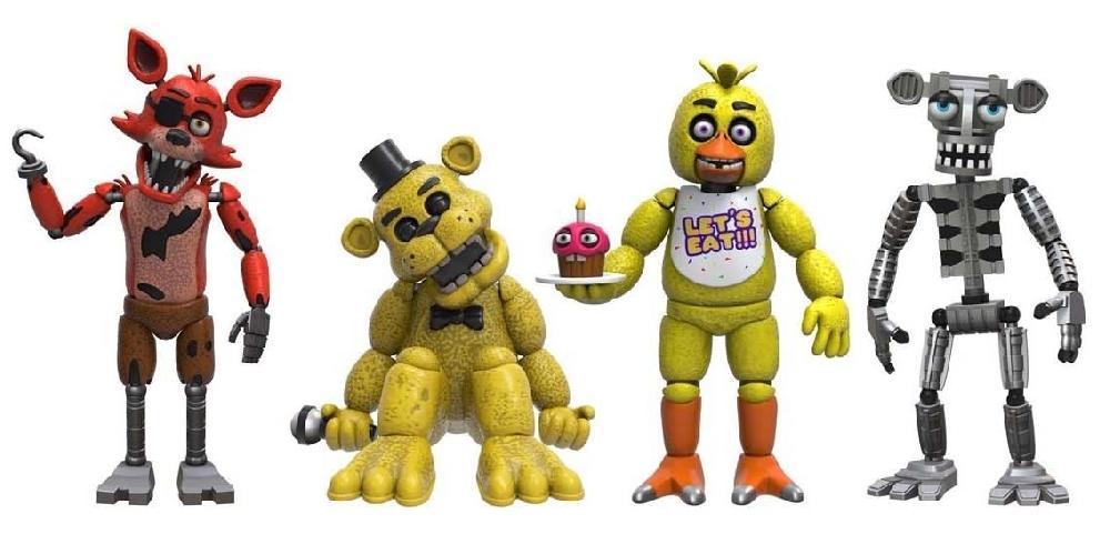 Набор фигурок Five Nights at Freddys: Foxy, Gold Freddy, Chica, Endoskeleton Freddy (8 см)Набор из четырех мини фигурок аниматроников FNAF, персонажей компьютерной игры Five Nights at Freddys.<br>
