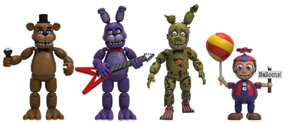 Набор фигурок Five Nights at Freddys: Freddy, Bonnie, Spring trap, Balloon Boy (8 см)Набор из четырех мини фигурок аниматроников FNAF, персонажей компьютерной игры Five Nights at Freddys.<br>