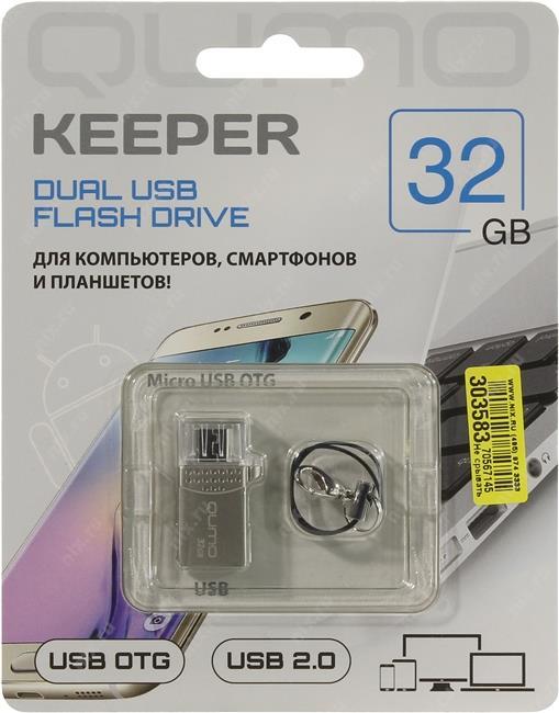 USB накопитель Qumo Keeper 32 ГБ для PC, для смартфона и планшетаQumo Keeper – ультра-современный флеш-накопитель с двумя коннекторами. Подходит как для подключения к компьютеру и ноутбуку через интерфейс 2.0, так и для подключения к планшетам и смартфонам, имеющим разъём microUSB и поддерживающим функцию «On-the-Go» (USB OTG).<br>