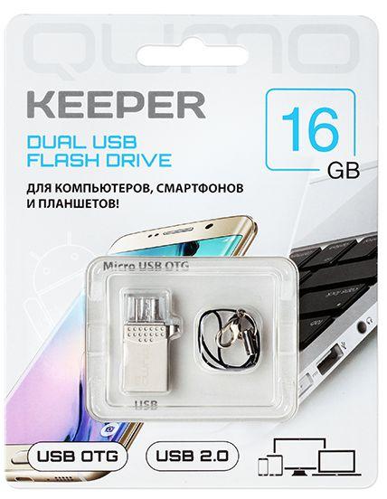USB накопитель Qumo Keeper 16 ГБ для PC, для смартфона и планшетаQumo Keeper – ультра-современный флеш-накопитель с двумя коннекторами. Подходит как для подключения к компьютеру и ноутбуку через интерфейс 2.0, так и для подключения к планшетам и смартфонам, имеющим разъём microUSB и поддерживающим функцию «On-the-Go» (USB OTG).<br>