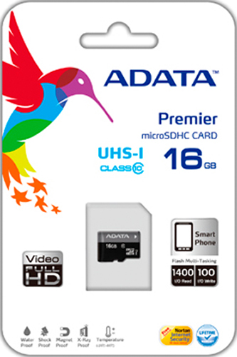 Карта памяти microSDHC 16 Гб ADATA UHS-1 CL10Карта памяти 16 Гб microSDHC Class 10 UHS-I (SD адаптер) AUSDH32GUICL10-RA1.<br>
