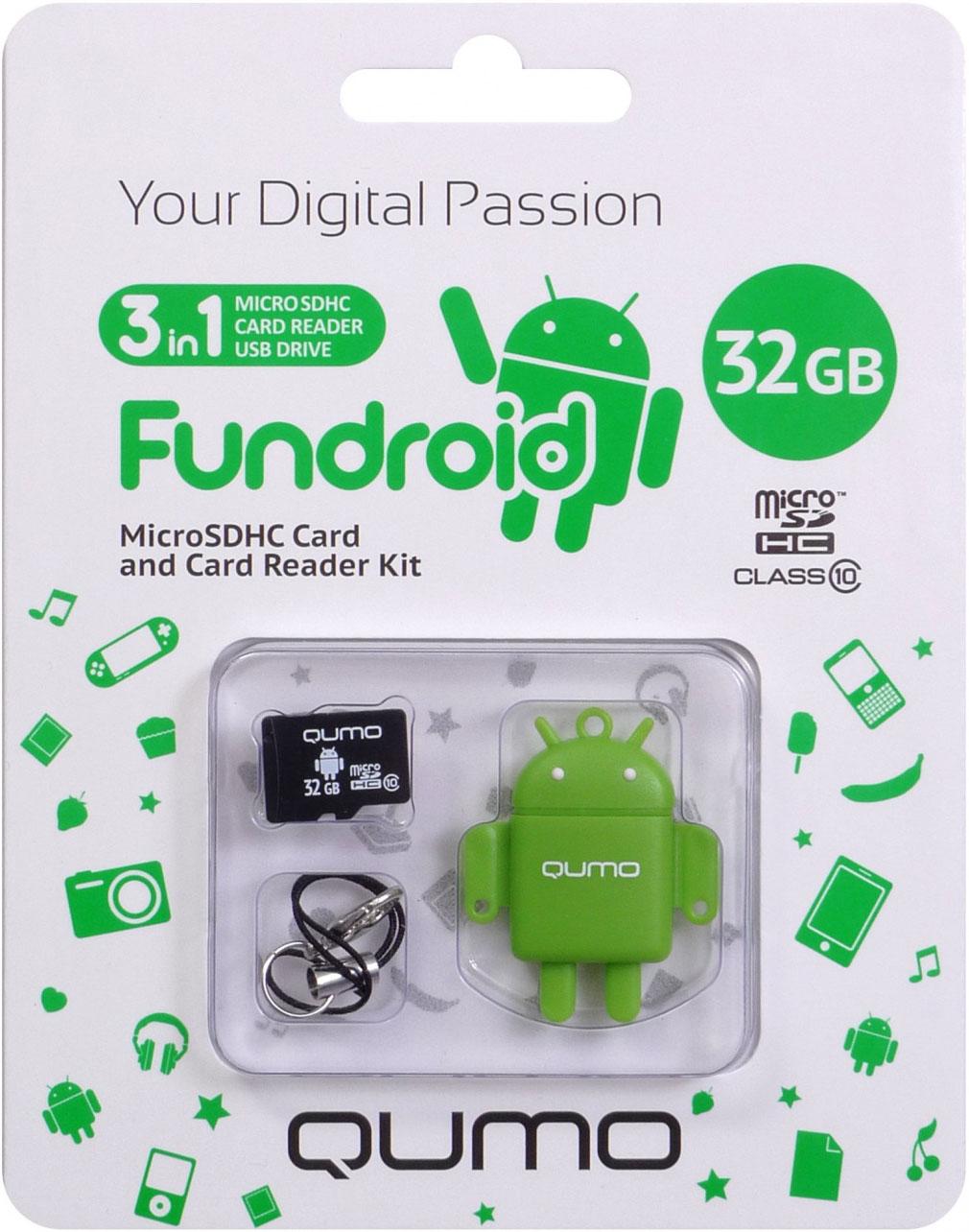 Карта памяти Qumo MicroSDHC 32 ГБ class 10 + USB картридер Fundroid для мобильных устройств (зеленый)Комплект Fundroid является идеальным решением класса «3-в-1» для тех, кто ценит функциональность и необычный дизайн. Во-первых, это высокоскоростная карта памяти для вашего мобильного устройства. Во-вторых, стильный картридер, который позволит вам оперативно обмениваться информацией. А в третьих, будучи совмещёнными друг с другом, они могут использоваться как высокоскоростной влагозащищенный USB-накопитель.<br>