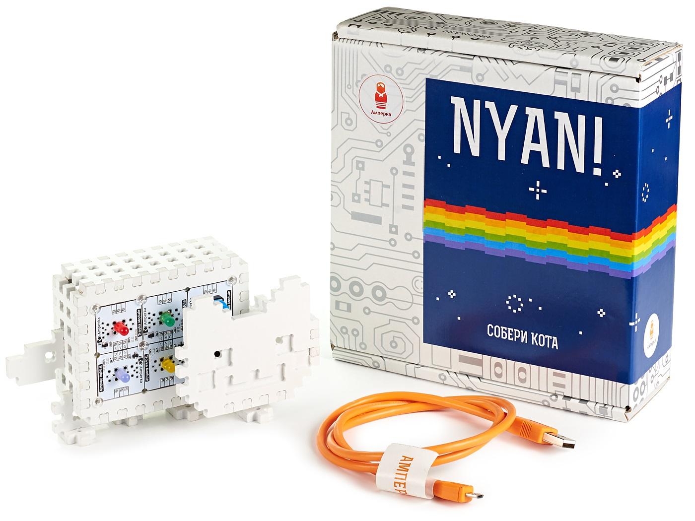 Электронный конструктор NYAN!Набор деталей для сборки умного котика «Nyan!» станет отличным подарком искушённому ценителю интернет-культуры.<br>