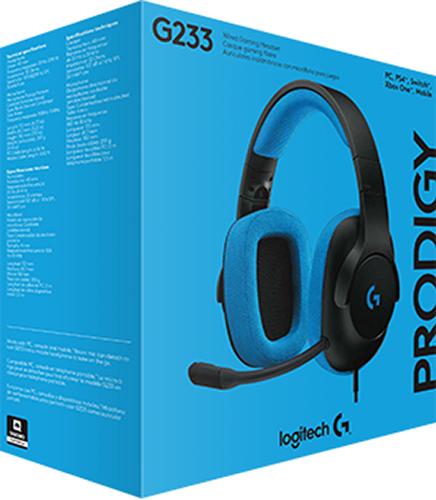 Гарнитура Logitech Headset G233 Prodigy Wired Gaming проводная игровая Black / Cyan для PC