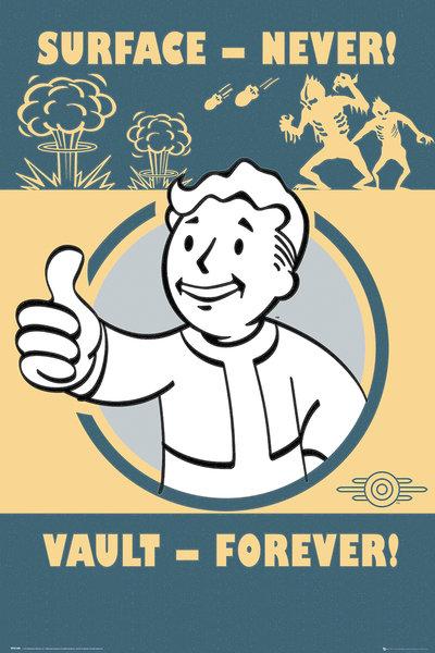 Плакат Fallout 4: Vault ForeverПлакат Fallout 4: Vault Forever создан по мотивам компьютерной игры Fallout. На нем изображен Волт-бой, который является своеобразным символом довоенной организации, упоминаемой в серии игр Fallout.<br>