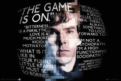 Плакат Sherlock: Quotes SherlockПлакат Sherlock: Quotes Sherlock создан по мотивам британского телесериала компании Hartswood Films, снятого для BBC Wales. Сюжет основан на произведениях сэра Артура Конан Дойля о детективе Шерлоке Холмсе, однако действие происходит в наши дни.<br>