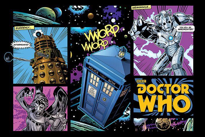 Плакат Doctor Who: Comic LayoutПлакат Doctor Who: Comic Layout создан по мотивам культового британского научно-фантастического телесериала компании «Би-би-си» об инопланетном путешественнике во времени, известном как Доктор.<br>