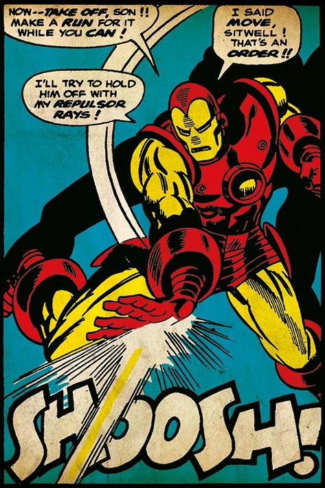 Плакат Iron Man: ShooshПлакат Iron Man: Shoosh создан по мотивам комиксов вселенной Marvel, на нем изображен Железный Человек.<br>