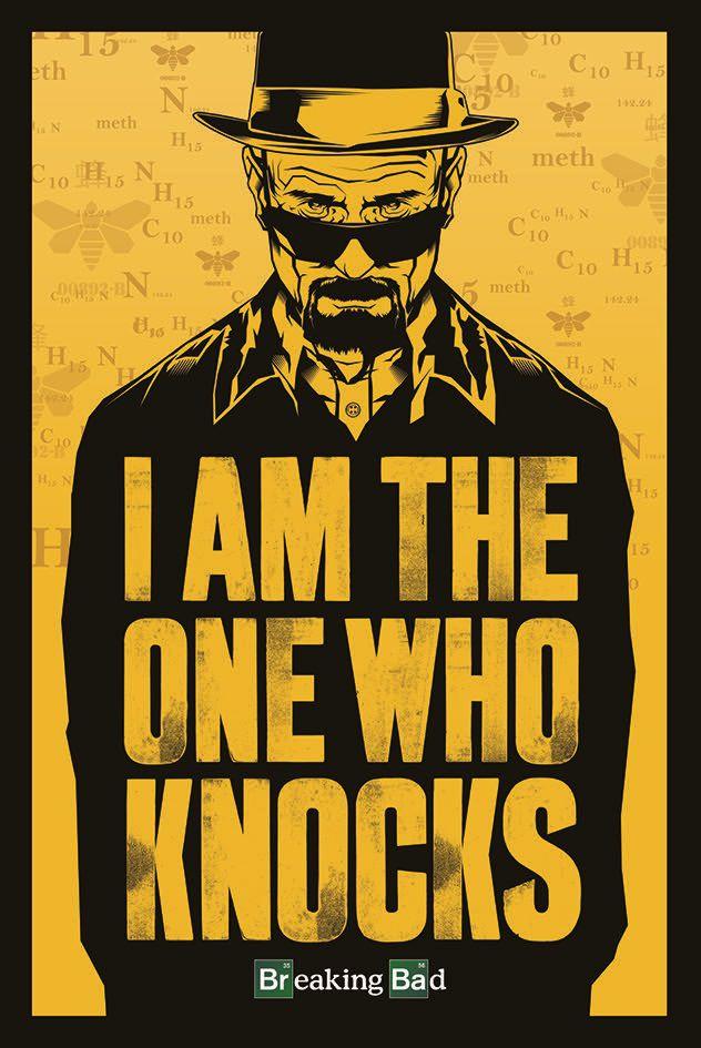 Плакат Breaking Bad: I Am The One Who KnocksПлакат Breaking Bad: I Am The One Who Knocks создан по мотивам американского американская телевизионной криминальной драмы, рассказывающего историю Уолтера Уайта, школьного учителя, у которого диагностировали неоперабельный рак лёгких.<br>