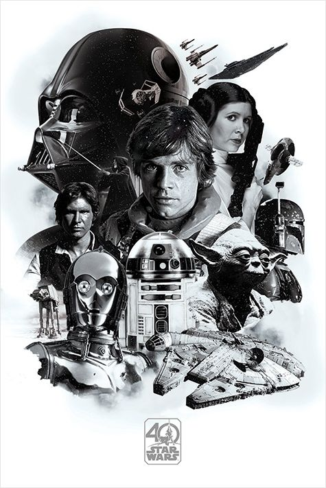 Плакат Star Wars: 40th Anniversary MontageПлакат Star Wars: 40th Anniversary Montage создан по мотивам культовой фантастической франшизы в жанре космической оперы «Звездные войны».<br>