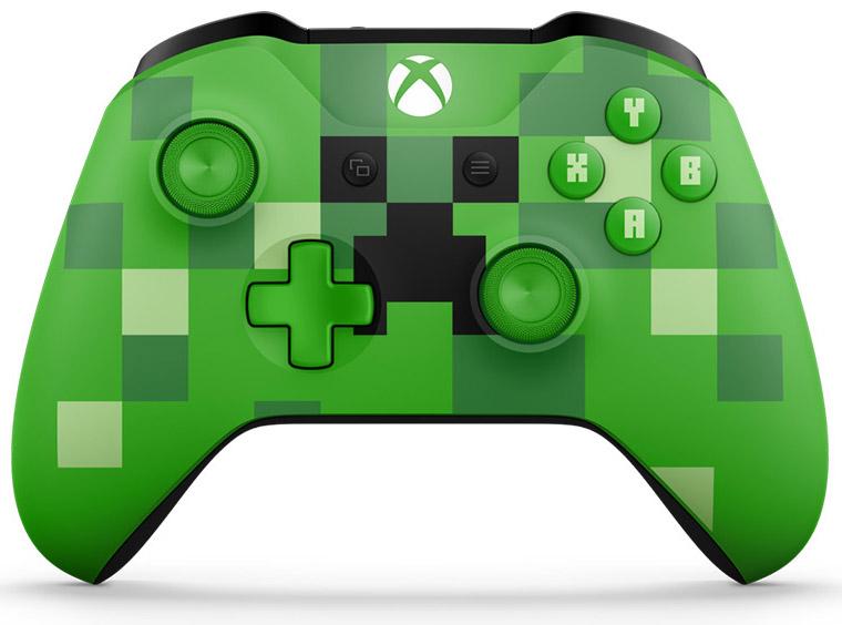 Беспроводной геймпад для Xbox One с 3,5 мм разъемом и Bluetooth (Minecraft Creeper)Отправляйся в увлекательное и опасное путешествие по миру Minecraft с зеленым геймпадом Minecraft Creeper, на котором изображен знакомый всем Крипер. Геймпад оснащен эргономичными рельефными рукоятками, а кнопки ABXY выполнены с классическим шрифтом Minecraft.<br>