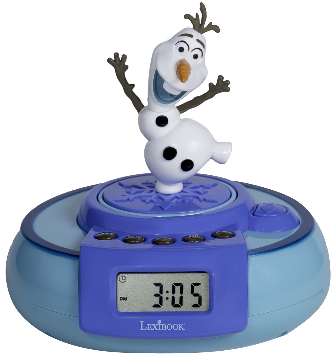 Часы-будильник FrozenЧасы-будильник Frozen с ЖК-экраном и множеством функций и фигуркой Олафа, который может выпрыгивать из часов, удивляя всех вокруг. Чтоб Олаф выпрыгнул, нужно просто нажать специальную кнопку.<br>