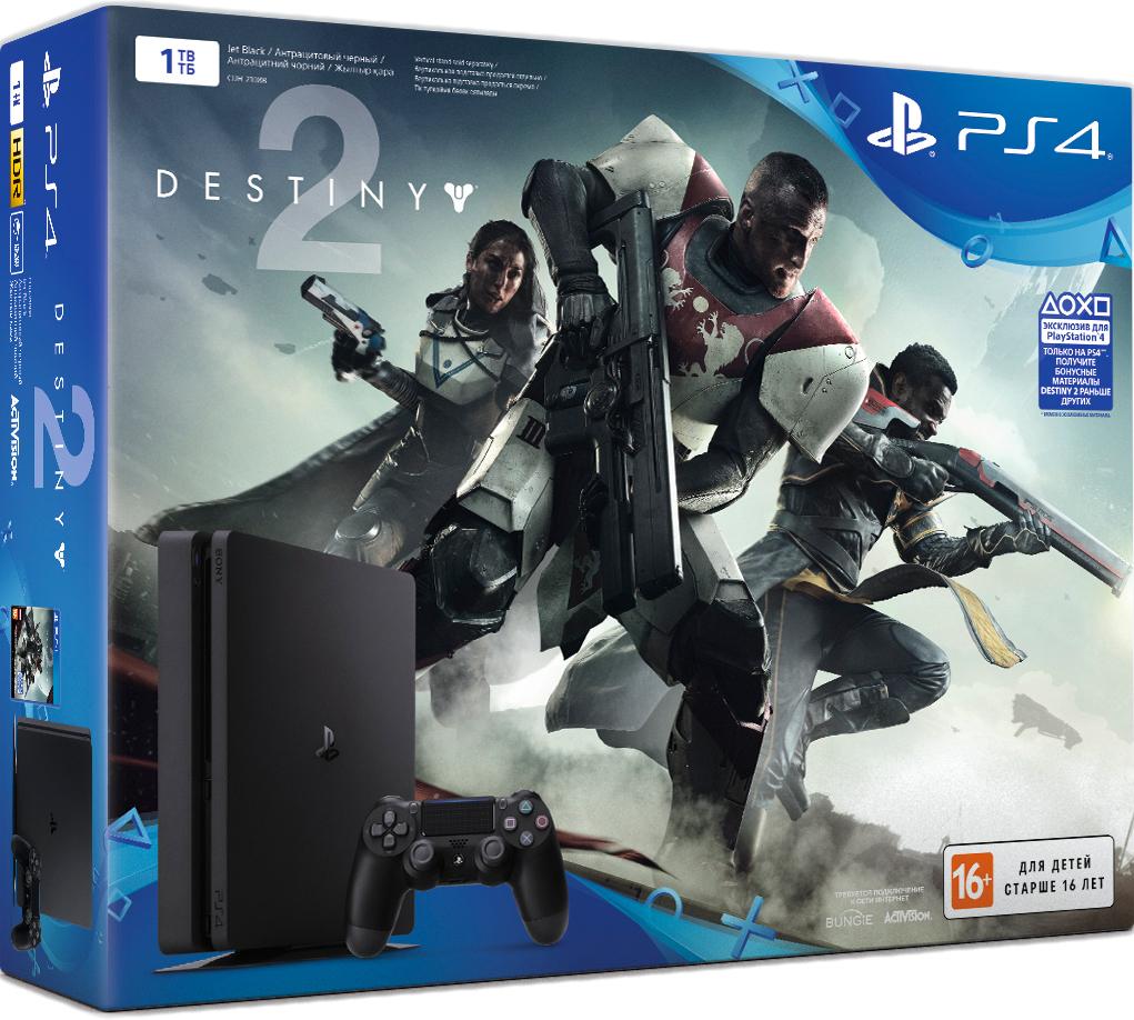 Игровая консоль Sony PlayStation 4 Slim (1 TB) Black + игра Destiny 2 + игра Это ты!Комплект включает в себя игровую консоль Sony PlayStation 4 Slim (1TB) Black, игру Destiny 2 и игру Это ты!<br>