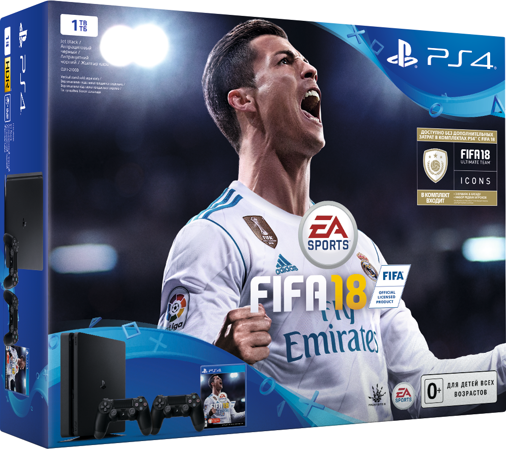Игровая консоль Sony PlayStation 4 Slim (1 TB) Black + игра FIFA 18 + PS Plus 14 дней + Дополнительный контроллер Dualshock 4 (черный)