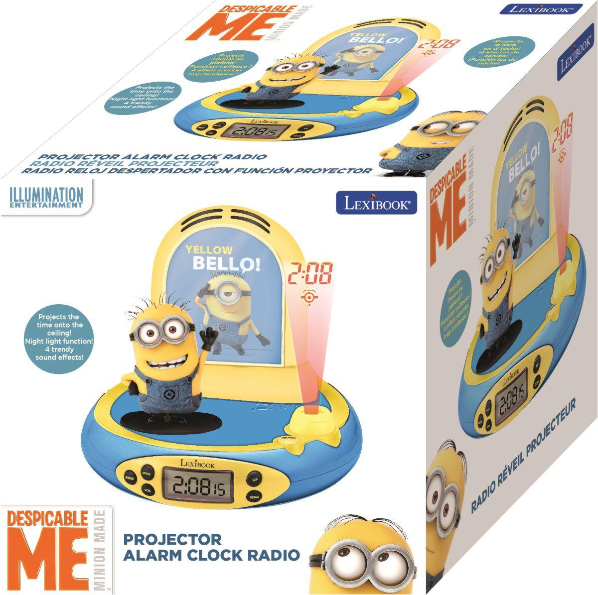 Часы-будильник-проектор Despicable MeСтильные часы-будильник Despicable Me, созданные по мотивам популярного анимационного фильма «Гадкий я», проецируют время и картинку с героями на потолок. Цифровой ЖК дисплей.<br>