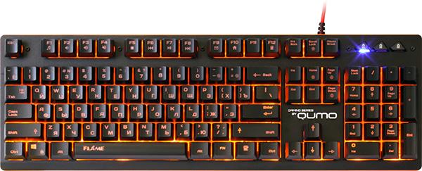 Клавиатура Qumo Dragon War Flame K22 проводная игровая с подсветкой для PCКомпьютерная игровая клавиатура Qumo Flame K22 предназначена для комфортного использования в играх и для работы дома и в офисе, обладает корректной привлекательной подсветкой янтарного цвета.<br>