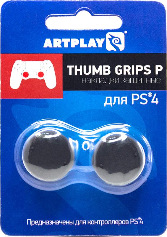 Защитные накладки Artplays Thumb Grips на стики геймпада DualShock 4 для PS4 (2 шт., вогнутые черные)Cиликоновые накладки высотой 14 мм, специально для более комфортной игры в шутеры на геймпаде. Вогнутая шляпка.<br>