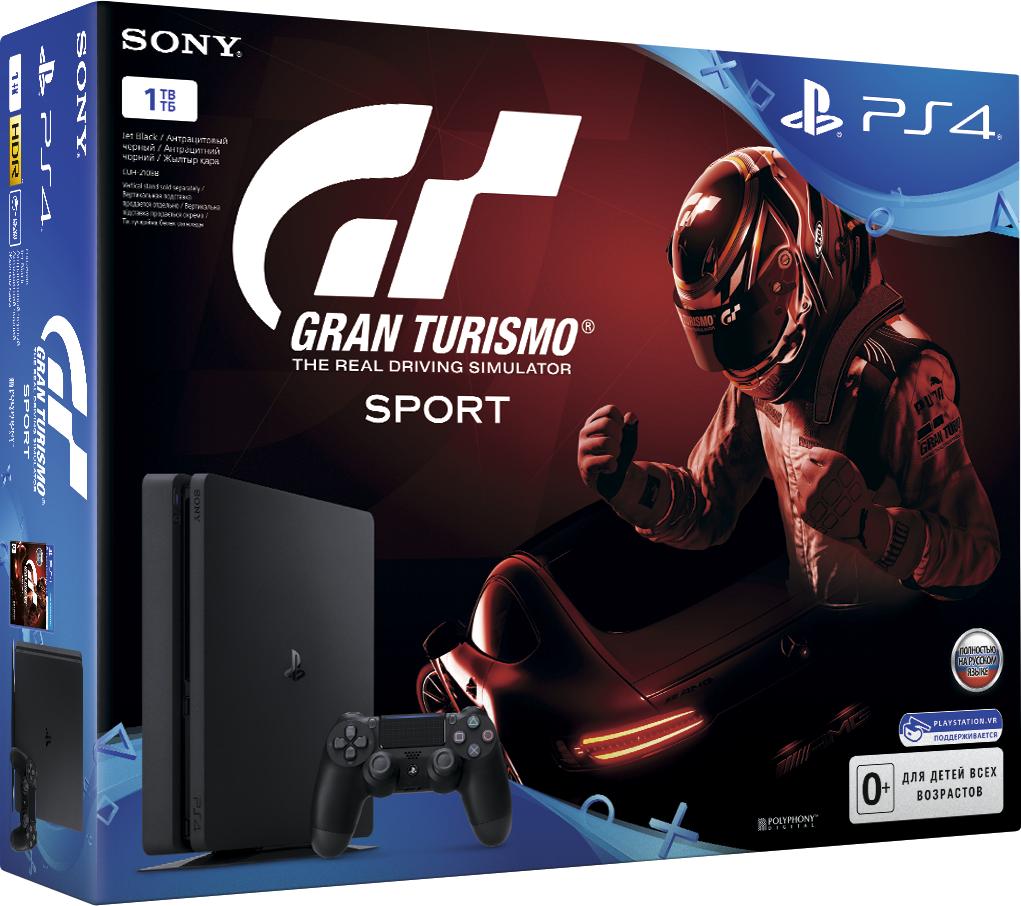Игровая консоль Sony PlayStation 4 Slim (1 TB) Black + игра Gran Turismo SportКомплект включает в себя игровую консоль Sony PlayStation 4 Slim (1TB) Black и игру Gran Turismo Sport<br>