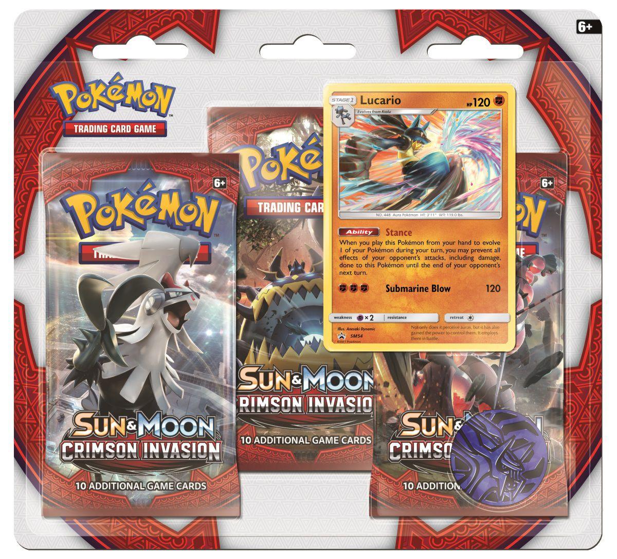 Коллекционная карточная игра Pokemon Sun &amp; Moon Crimson Invasion: Тройной блистер + Промо-карта Lucario + МонетаНевероятная история о жестоких Ультрачудовищах разворачивается в ландшафте Pok&amp;#233;mon TCG в расширении Sun &amp;amp; Moon-Crimson Invasion! В регион Алола вторгаются таинственные и мощные существа! Могут ли союзники Алолы защитить острова – или Ультрачудовища возьмут под свой контроль? Ответ вы получите во время игры с новым дополнением!<br>