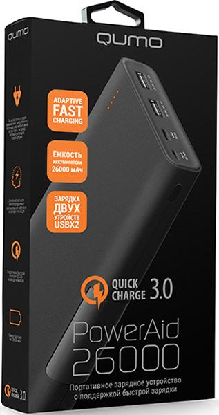 Портативное зарядное устройство Qumo PowerAid QC 3.0 26000Портативный, перезаряжаемый и универсальный аккумулятор Qumo PowerAid QC 3.0 26000 позволит смотреть, играть, говорить дольше. Мощная и компактная модель совместима со всеми коммуникаторами, игровыми приставками. Благодаря элегантному дизайну аккумулятор выглядит модно. Гибкая подзарядка вашего блока от ноутбука через USB порт или сетевой адаптер с USB-кабелем.<br>