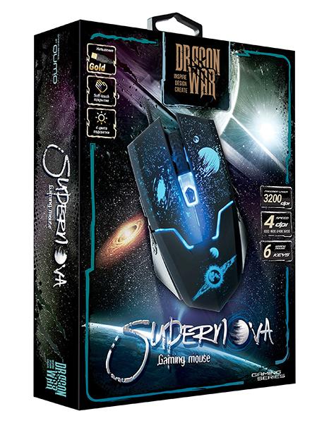 Мышь Qumo Dragon War Supernova М24 проводная оптическая для PCМышь Qumo Dragon War Supernova М24 привлекает стильной внешностью и оснащена 6 функциональными кнопками, имеет покрытие soft-touch и Магнитный ферритовый фильтр помех.<br>