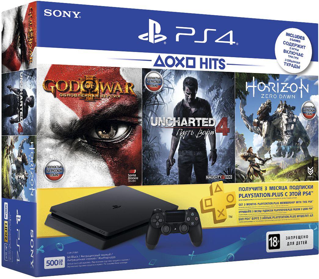 Игровая приставка PlayStation 4 «Хиты PlayStation» в комплекте с тремя играми: Horizon Zero Dawn, God of War 3, Uncharted 4 и подпиской PlayStation Plus 90дКомплект Хиты PlayStation включает в себя Sony PlayStation 4 (500 GB) (Black), а также игры Horizon Zero Dawn, God of War 3, Uncharted 4 и подписку PlayStation Plus 90д.<br>