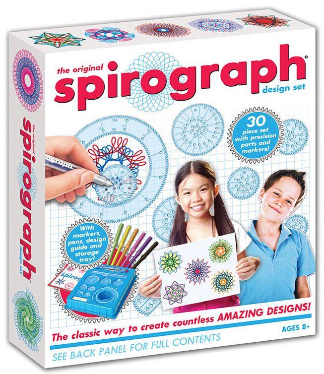 Спирограф (Spirograph): DesignСпирограф (Spirograph): Design содержит всё, что нужно для создания потрясающих рисунков: 6 колёс-шестерёнок, 1 кольцо с зубцами на внешней и внутренней сторонах, 1 зубчатая рейка, 1 колесо-шестерёнка «пластина» со срезанными краями, 2 цветных шариковых ручки Spirograph, 6 фломастеров, вещество-липучка Spiro-Putty для крепления шестерёнок к бумаге – 5 грамм и другие компоненты.<br>